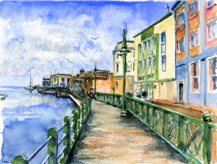 """Painting titled """"Barbados Promenade"""" by Life Portraits, Original Art, Oil"""
