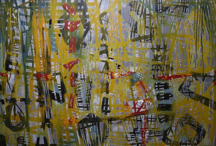 Fragmentation des fragiles petits monuments... - Painting,  40x60x1 in ©2018 by BENT -                                                            Abstract Art, Other, Abstract Art, Vis, acrylique, papier sablé, encre, grand canevas