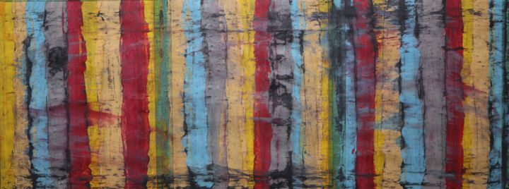 D'un certains effondrement - Painting,  17x42x0.1 in ©2019 by BENT -                                            Abstract Art, Abstract Art, Acrylique, fusain