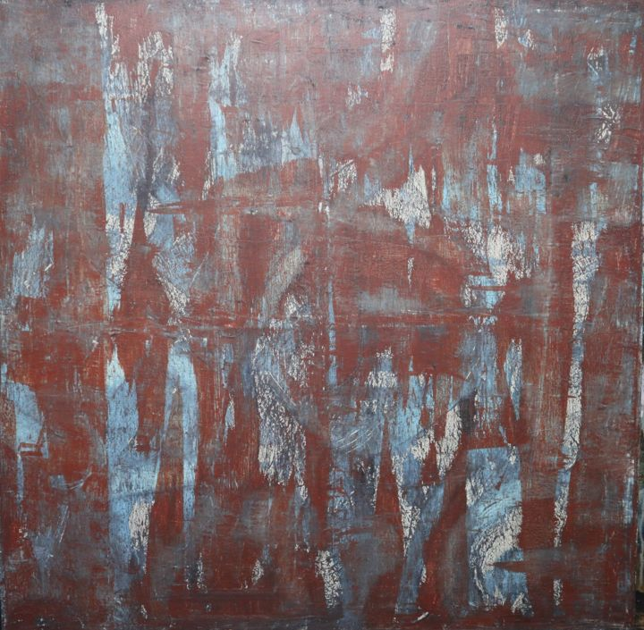 In Girum Imus Nocte Et Consumimur Igni (III) - Painting,  36x36x1.8 in ©2019 by BENT -                                            Abstract Art, Abstract Art, Acrylique, huile, charbon, Grand canevas