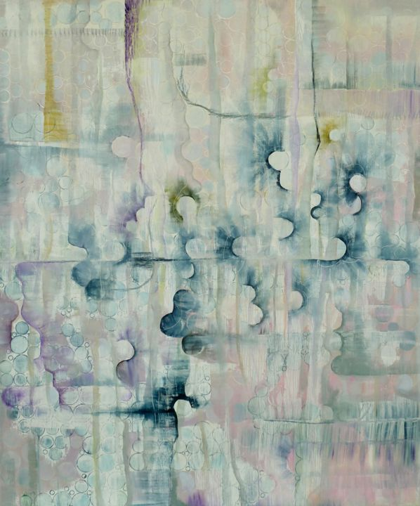 Collide - Painting,  47.2x39.4x0.9 in, ©2020 by Berenice Fugard -                                                                                                                                                                                                                                                                                                                                                                                                          Abstract, abstract-570, Colors, Curves, circles, colour, pink, texture