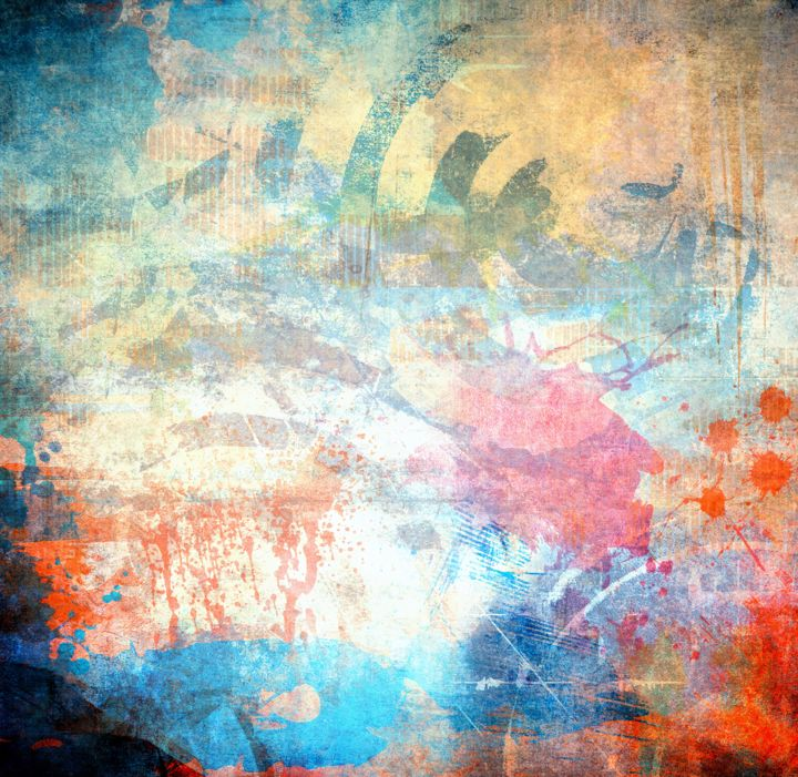 """Painting titled """"New blue and crimso…"""" by Larry Harding, Original Art, Other"""