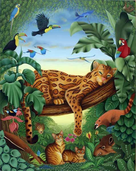 L'Amazonie - Painting,  92x73 cm ©2007 by Bernard Vercruyce -                            Naive Art, ocelot jungle tapir art-naïf peintre chat chats fourmilier