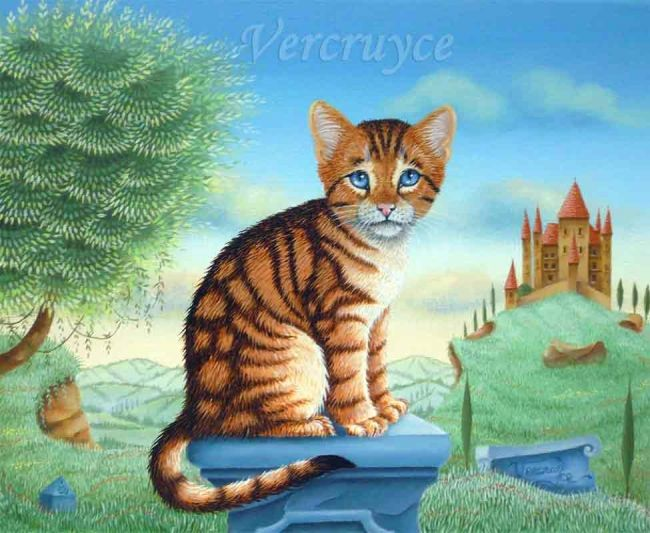 Le chaton perdu - Painting,  8.7x10.6 in, ©2007 by Bernard Vercruyce -