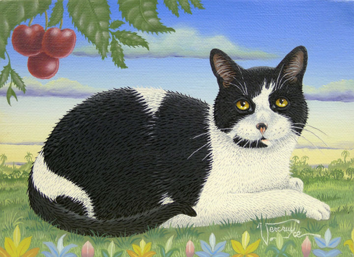 Mika. - Painting,  22x16 cm ©2014 by Bernard Vercruyce -                                                            Naive Art, Canvas, Cats, chat noir et blanc; cerisier; cerises