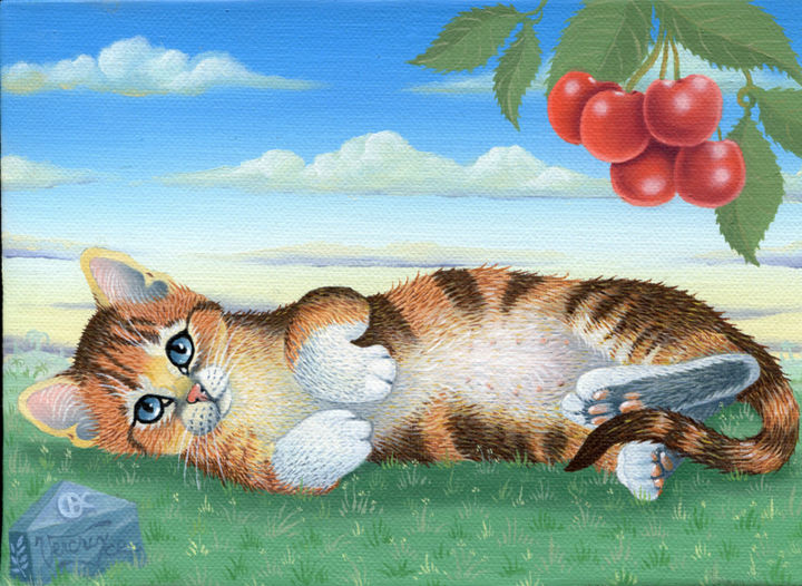 Sous-la-griotte - Painting,  6.3x8.7 in, ©2014 by Bernard Vercruyce -                                                                                                                                                                                                                          Naive Art, naive-art-948, Cats, chat; cerise griotte