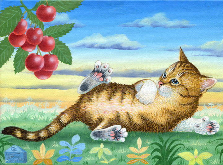Les-bigarreaux - Peinture,  6,3x8,7 in, ©2014 par Bernard Vercruyce -                                                                                                                                                                                                                          Naive Art, naive-art-948, artwork_cat.Cats, chat couché; cerise Bigarreau