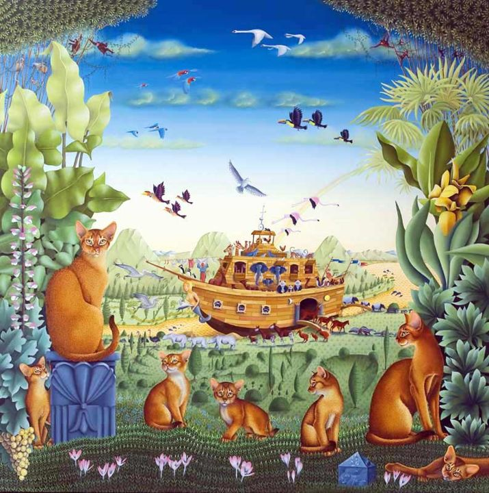 l-arche-de-noe-08.jpg - Painting,  100x100 cm ©2008 by Bernard Vercruyce -                                                            Naive Art, Canvas, Animals, chat, ;Abyssin, Arche de Noé