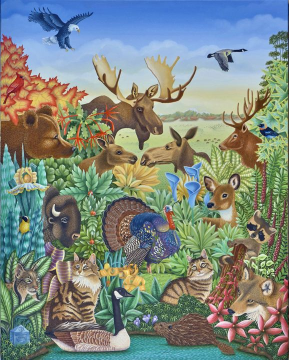 Mon-rêve-americain. - Painting,  36.6x28.7 in, ©2014 by Bernard Vercruyce -                                                                                                                                                                                                                                                                                                                                                                                                                                                                                                                                              Naive Art, naive-art-948, Animals, Animaux d'Amérique du Nord, Bisons, Ours, Elan, Orignal, Dindon, Maïne Coon, Lynx