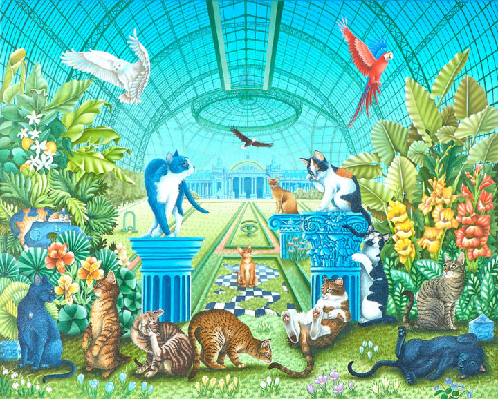 Mes-chats-sous-la-verriere-du-Grand-Palais.jpg - Painting,  28.7x36.2 in, ©2015 by Bernard Vercruyce -                                                                                                                                                                                                                                                                      Naive Art, naive-art-948, Animals, Grand-Palais, chats symboliques