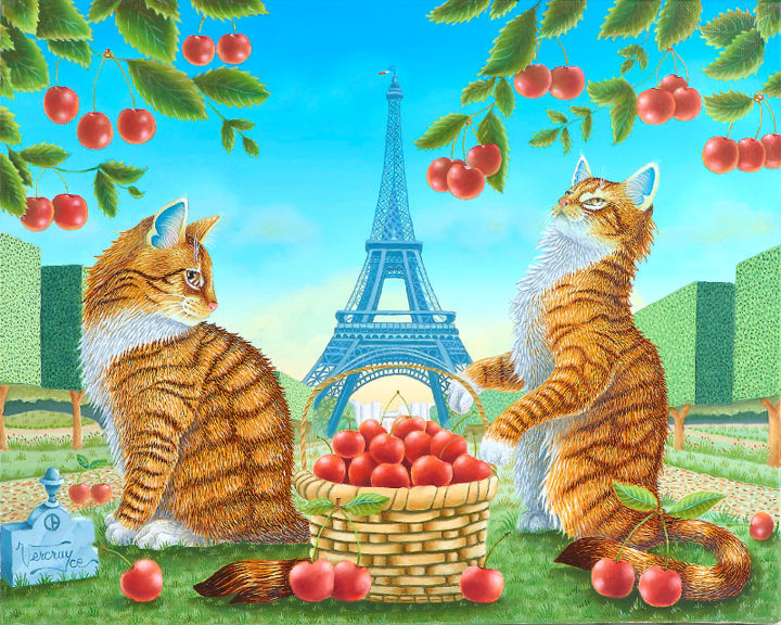 Les-cerisiers-du-champ-de-mars.jpg - Painting,  27x35 cm ©2016 by Bernard Vercruyce -                                                            Naive Art, Canvas, Animals, Chat, cerise, Tour Eiffel