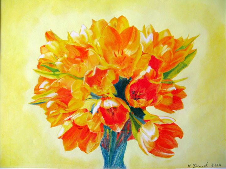 Bouquet de tulipes N°  31 - Painting,  60x80x2 cm ©2003 by bernard Danel -                                                            Figurative Art, Other, Abstract Art, Bouquet, fleurs, tulipe