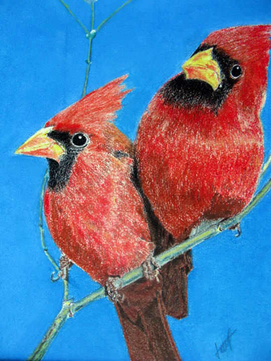 Oiseaux exotiques N° 28 - Painting,  40x30x1 cm ©2001 by bernard Danel -                                                            Figurative Art, Other, Animals, art, animalier., oiseaux, exotique
