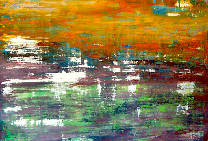 atmosphère confuse - Painting,  70x100x3.5 cm ©2014 by bertrand maury -