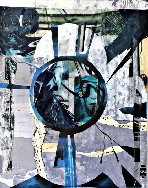 Assomption Initiatique - Collages,  27.6x19.7 in, ©2019 by Bertrand TARDIEU -                                                                                                                          Abstract, abstract-570