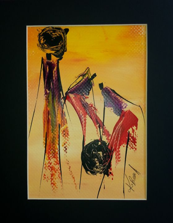 """Painting titled """"3 sister"""" by Joseph Kwaw Besoabewie, Original Art,"""