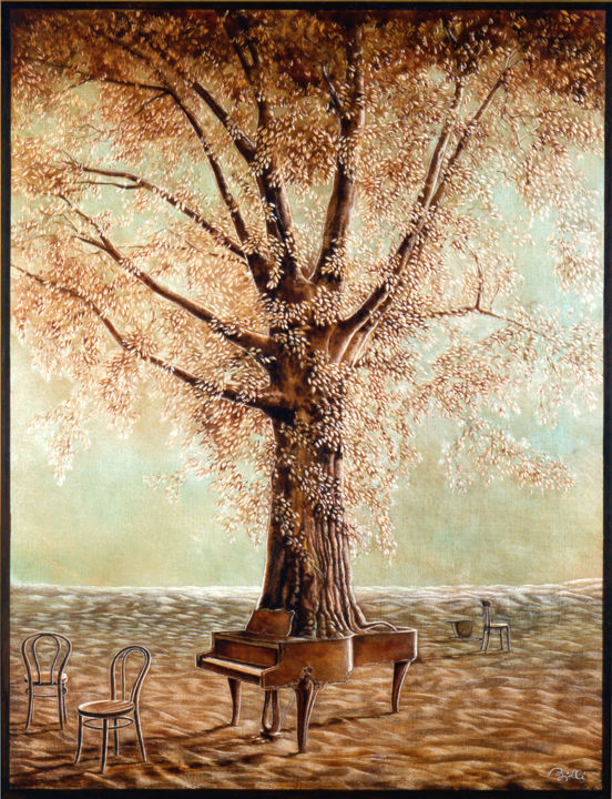 l'arbre à piano © - Painting,  25.6x19.7x0.8 in, ©1980 by Billy Renoir -                                                                                                                                                                                                                                                                                                                                                                                                                                                                                                                                                                                          Figurative, figurative-594, Tree, Colors, Music, Nature, piano, arbre, chaise, musique, couleur, nature