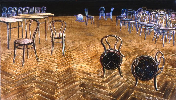 les chaises 2 © - Painting,  9.5x16.1x0.8 in, ©1994 by Billy Renoir -                                                                                                                                                                                                                                                                                                                                                              Figurative, figurative-594, Colors, Interiors, chaises, intérieur, accumulation