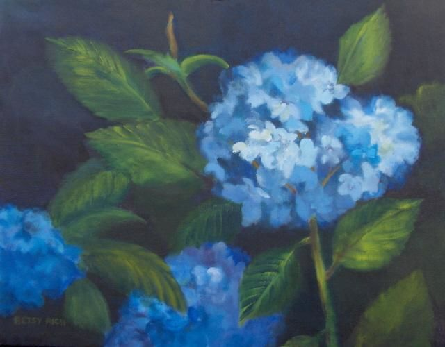 """Painting titled """"Blue Hydrangias"""" by Betsy Rich, Original Art, Oil"""