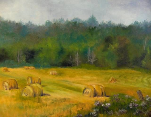 """Painting titled """"Hay Bales In The Fi…"""" by Betsy Rich, Original Art, Oil"""