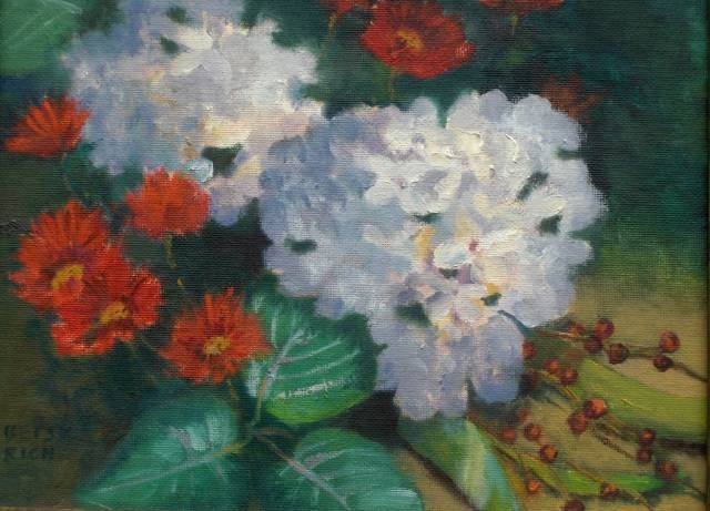 """Painting titled """"Hydrangias And Mums"""" by Betsy Rich, Original Art, Oil"""