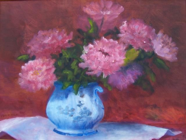 """Painting titled """"Pink Peonies In A B…"""" by Betsy Rich, Original Art, Oil"""
