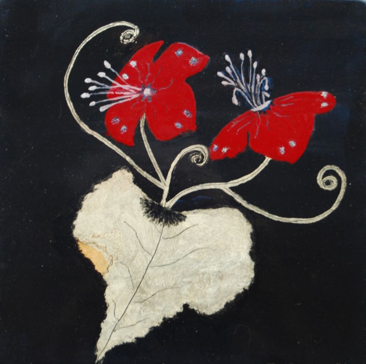 Fleurs rouges.jpg - Artcraft,  20x20 cm ©2015 by Beuz Art -                                                            Figurative Art, Wood, Flower, Laque, or vert, or rouge, Urushi