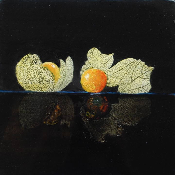 Reflet de physalis.jpg - Artcraft,  20x20 cm ©2015 by Beuz Art -                                                            Figurative Art, Wood, Still life, Laque, or vert