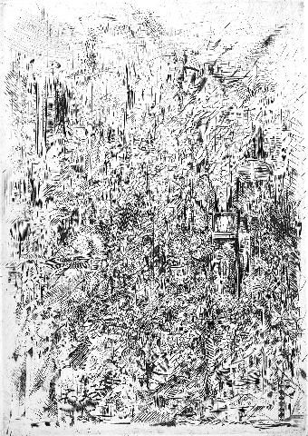 Paysage - Drawing,  13x18 cm ©1982 by ABOL -