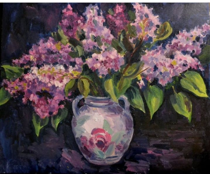 bouquet  lilac - Painting,  19.7x23.6 in, ©2019 by Nataliya Novozhilova -                                                                                                                                                                                                                                                                                                                                                                                                                                                                                                                                                                                                                                                                                                                                                                                                                                                                                                                                                                                                                                                  Figurative, figurative-594, Still life, Flower, oil, original, painting, bouquet, lilacs, lilac, purple, floral painting, flowers, цветы, букет, сирень, весна, цветы в вазе, сиреневый, лиловый, розовый, картина маслом