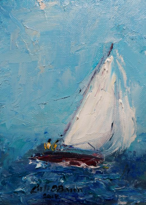 yachts-impasto-sailing-changing-tack.jpg - Painting,  7x5 in ©2017 by BILL O'BRIEN -                                                                                    Abstract Expressionism, Canvas, Boat, Sailboat, Seascape, yachts, sailing, impasto