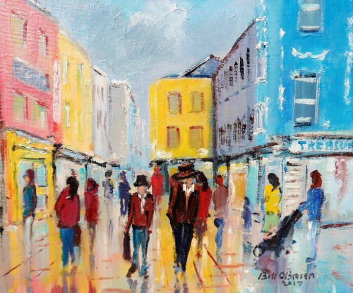 Galway Shop St. Wet Afternoon. - ©  galway, shop street, ireland, irish, art, painting of galway Online Artworks