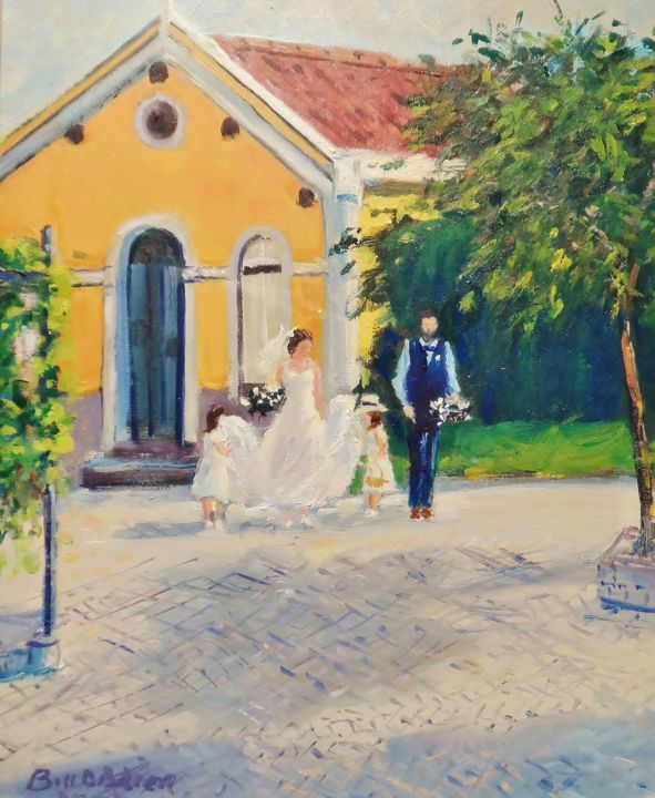 Quinta-De-Santana-Wedding-Siobhan-and-Alex.jpg - Painting,  12x10 in ©2017 by BILL O'BRIEN -                                                            Impressionism, Canvas, People, quinta, de, santanna, wedding, siobhan, alex