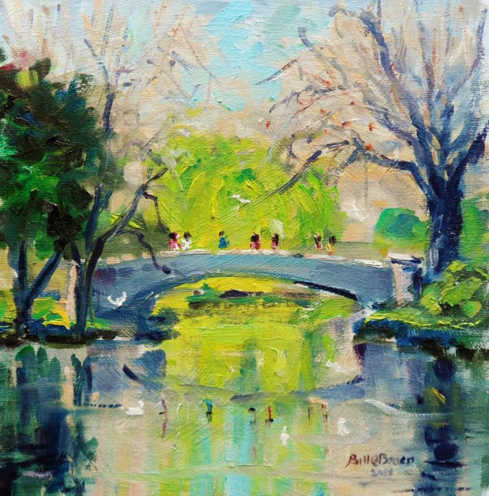 Spring at Stephens Green Bridge Dublin - Painting,  10x10x0.13 in ©2018 by BILL O'BRIEN -                                                            Impressionism, Canvas, Landscape, stephens green, dublin, spring, irish, art, ireland