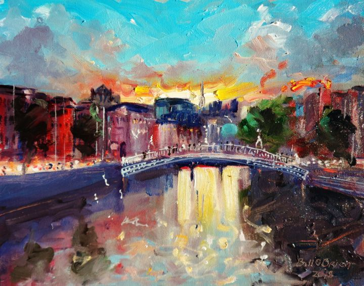 Hapenny Bridge Dublin, Spring Sunset - Painting,  8x10x0.13 in ©2018 by BILL O'BRIEN -                                                            Expressionism, Canvas, Cityscape, hapenny, bridge, dublin, spring, sunset, irish art, ireland, oil painting, original