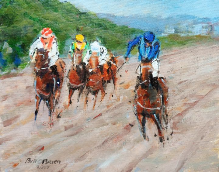 Horse Racing, Laytown Races - Painting,  8x10x0.03 in ©2017 by BILL O'BRIEN -                                                            Impressionism, Canvas, Horses, horse, racing, laytown