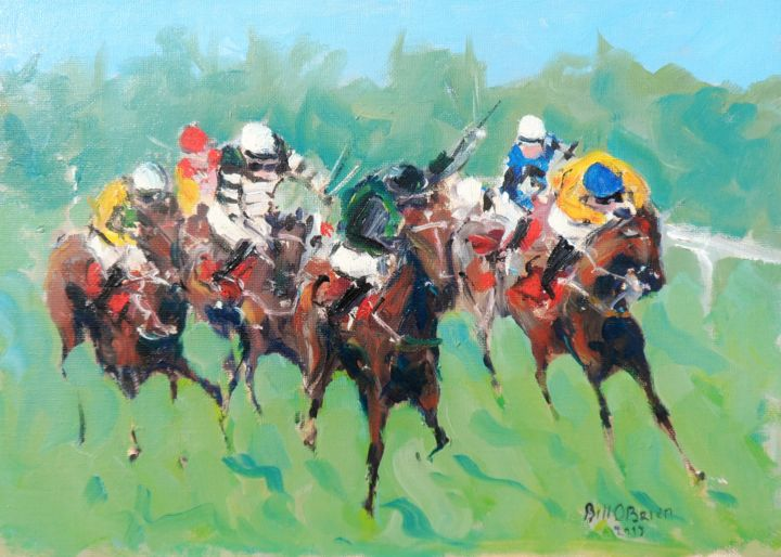Horse Racing Galway Races 2015 - Painting,  10x14x0.03 in ©2018 by BILL O'BRIEN -                                                            Impressionism, Canvas, Horses, horse, racing, galway, 2015