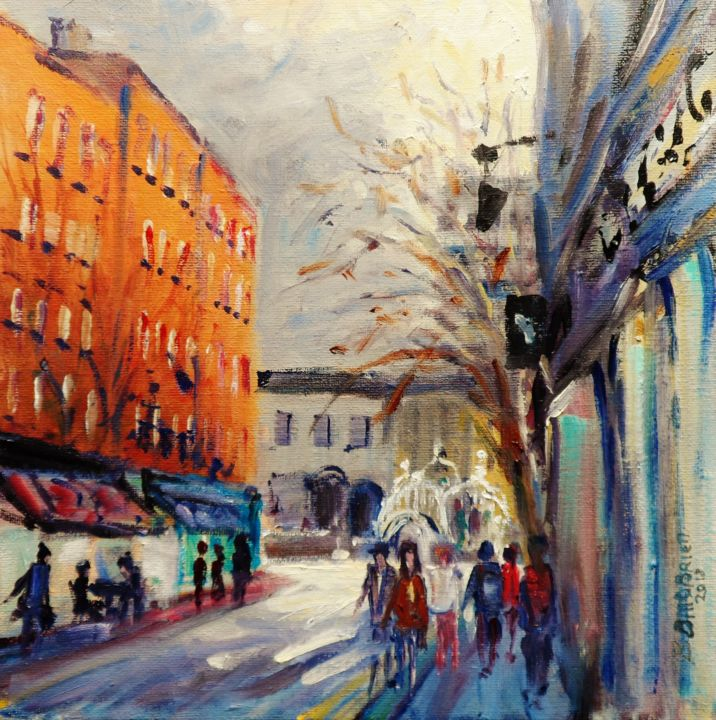 Hapenny Bridge Liffey St. Spring Sunshine - Painting,  10x10x0.13 in ©2018 by BILL O'BRIEN -                                                            Impressionism, Canvas, Cityscape, hapenny Bridge, liffey, street, spring, sunshine, irish art, original, oil, painting