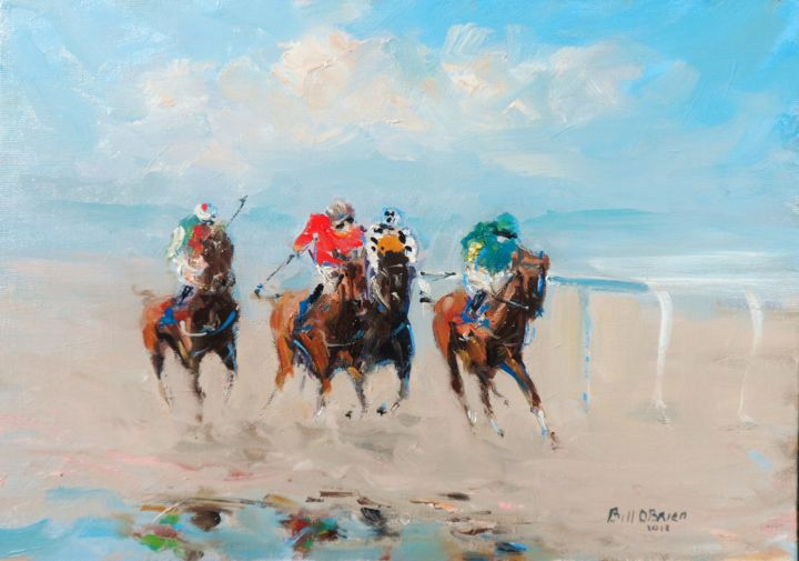 Laytown Horse Racing - Painting,  10x14x0.13 in ©2018 by BILL O'BRIEN -                                                            Impressionism, Canvas, Horses, laytown races, horse racing, irish, art, original, oil, painting, ireland