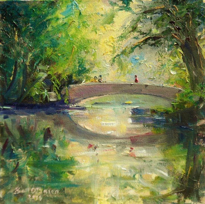 Stephens Green Bridge Morning Sun - Painting,  10x10x0.13 in ©2018 by BILL O'BRIEN -                                                            Impressionism, Canvas, Landscape, st stephens green, bridge, dublin, ireland, irieh, art, original, painting, oil