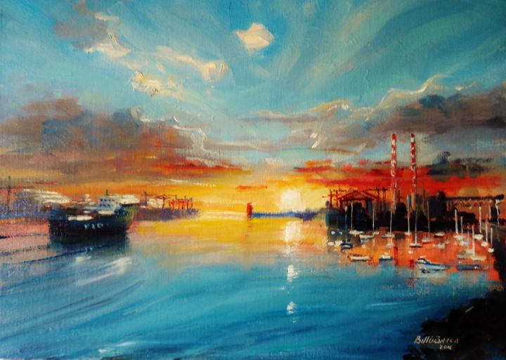 Dawn on Dublin Docks - © 2018 dawn, dublin, port, docke, sunrise, irish, art, original, painting, ireland Online Artworks