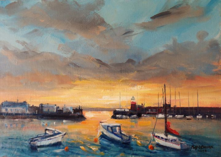 Howth Harbour, Midsummer Sunsets - Painting,  10x14x0.13 in ©2018 by BILL O'BRIEN -                                                            Impressionism, Canvas, Seascape, howth, harbour, dublin, midsummer, sunsets, irish, art, ireland, oil painting