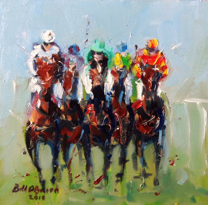 Horse Racing, Last Push - Painting,  6x6x0.13 in ©2018 by BILL O'BRIEN -                                                            Impressionism, Wood, Horses, horse, racing