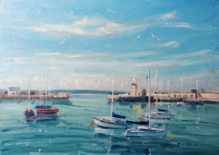 Howth Harbour Yachts, Full Tide - Painting,  10x14x0.13 in ©2018 by BILL O'BRIEN -                                                            Impressionism, Canvas, Seascape, howth, harbour, yachts, sailing, dublin, irish, art, original, painting, ireland