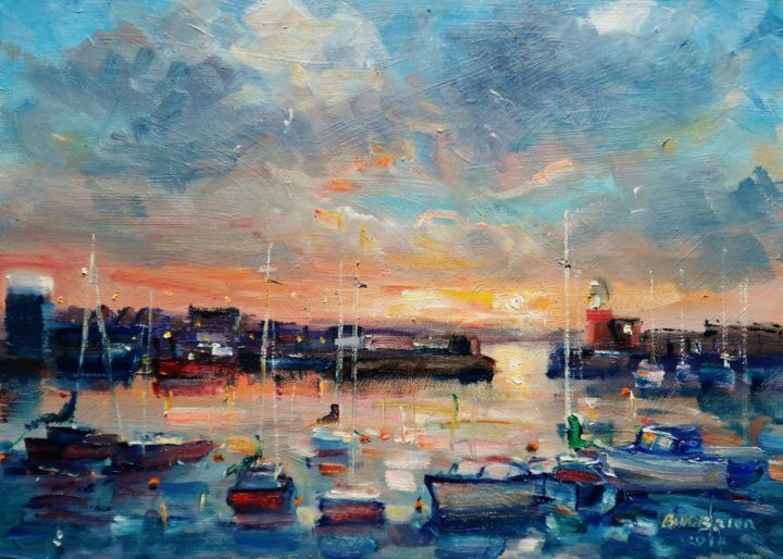 Howth Harbour Dublin, Summer Dusk - Painting,  10x14x0.13 in ©2018 by BILL O'BRIEN -                                                            Expressionism, Canvas, Seascape, howth, harbour, dublin, dusk, sunset, yachts, boats, irish, art, original, painting
