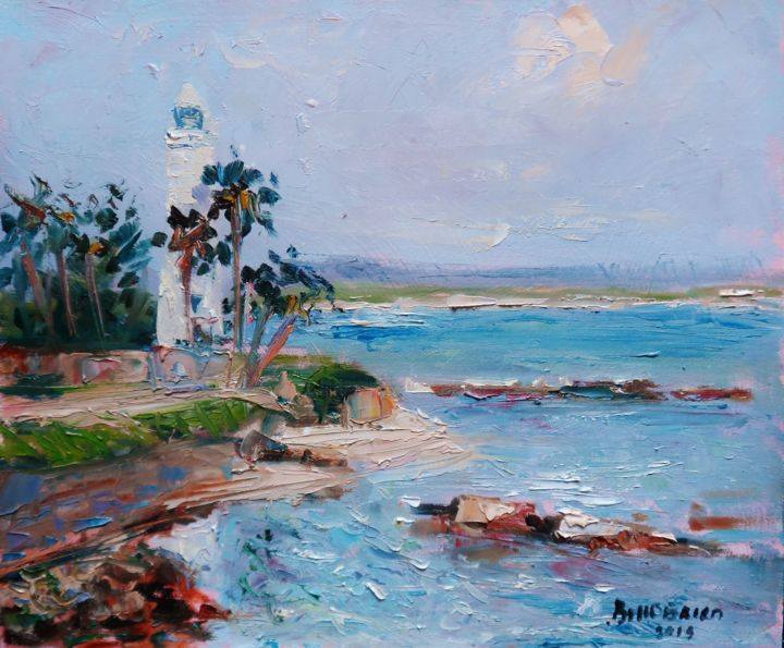 Galle Dutch Fort Sri Lanka. - © 2018 Galle, lighthouse, sri lanka, original, oil, painting Online Artworks