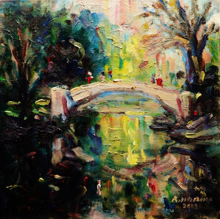 Bridge at Stephens Green Dublin - Painting,  10x10x0.13 in ©2019 by BILL O'BRIEN -                                                            Expressionism, Canvas, Landscape, bridge, stephens green, dublin, ireland, irish, art, painting, oil painting