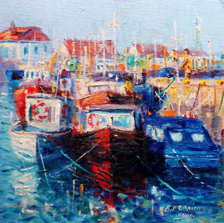 Howth Trawlers Dublin, Tying Up - Painting,  12x12x0.1 in, ©2019 by Bill O'Brien -                                                                                                                                                                                                                                                                                                                                                                                                                                                                                                                                              Impressionism, impressionism-603, Seascape, howth, harbour, dublin, trawlers, irish, art, oil, painting