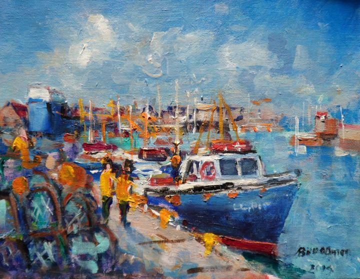 Howth Trawlers West Pier - Painting,  8x10x0.13 in ©2019 by BILL O'BRIEN -                                            Expressionism, Seascape, howth, trawlers, lobster pots, irish, painting, original, ireland