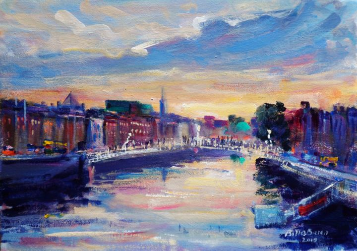 Hapenny Bridge and Liffey Sunset Dublin - Painting,  10x14 in, ©2019 by BILL O'BRIEN -                                                                                                                                                                          Expressionism, expressionism-591, Cityscape